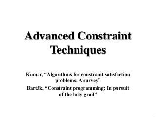 Advanced Constraint Techniques