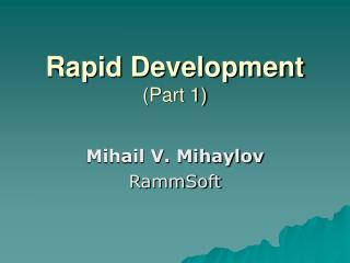 Rapid Development (Part 1)