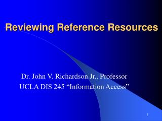Reviewing Reference Resources