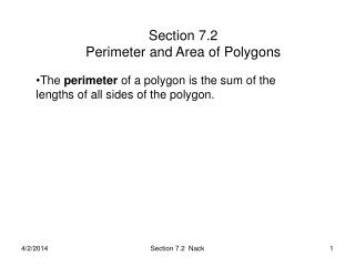 Section 7.2   Perimeter and Area of Polygons