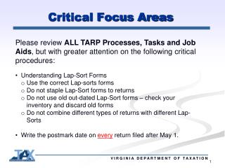 Critical Focus Areas