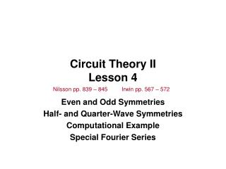 Circuit Theory II Lesson 4