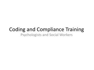 Coding and Compliance Training