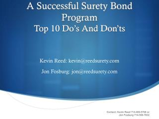 A Successful Surety Bond Program Top 10 Do's And Don'ts