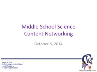 Middle School Science Content Networking