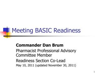 Meeting BASIC Readiness