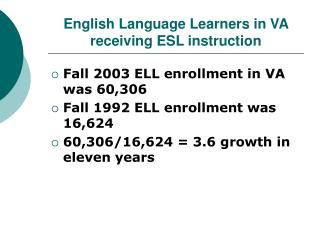 English Language Learners in VA receiving ESL instruction
