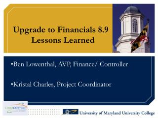Upgrade to Financials 8.9   Lessons Learned