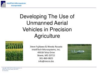 Developing The Use of Unmanned Aerial Vehicles in Precision Agriculture