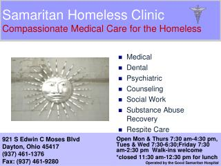 Samaritan Homeless Clinic Compassionate Medical Care for the Homeless