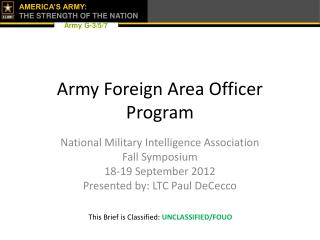 Army Foreign Area Officer  Program