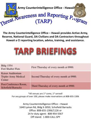 Threat Awareness and Reporting Program  (TARP)