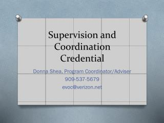 Supervision and Coordination Credential