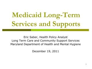 Medicaid Long-Term Services and Supports