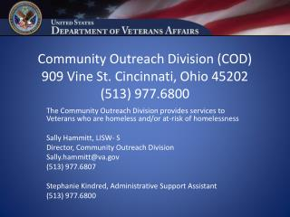 Community Outreach Division (COD) 909 Vine St. Cincinnati, Ohio 45202 (513) 977.6800