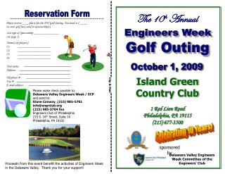 Please reserve ____ places for the EW Golf Outing.  Enclosed is $ _____