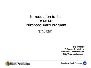 Introduction to the MARAD Purchase Card Program