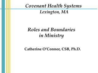 Roles and Boundaries in Ministry