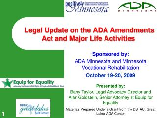 Legal Update on the ADA Amendments Act and Major Life Activities