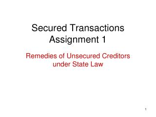 Secured Transactions Assignment 1