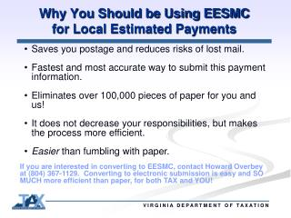 Why You Should be Using EESMC  for Local Estimated Payments