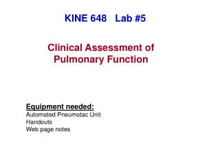 Clinical Assessment of Pulmonary Function
