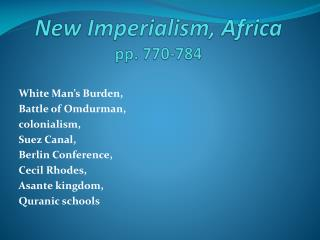 New Imperialism, Africa pp. 770-784