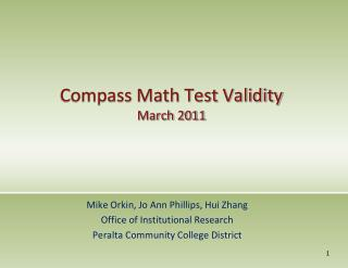 Compass Math Test Validity  March 2011
