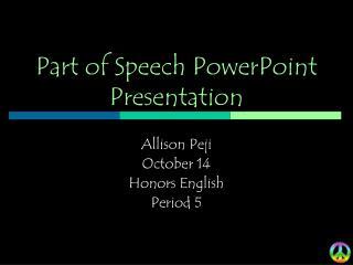 Part of Speech PowerPoint Presentation