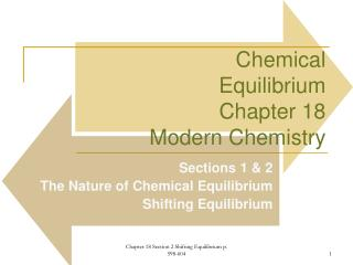 Chemical Equilibrium Chapter 18  Modern Chemistry
