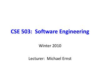 CSE 503:  Software Engineering