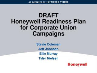 DRAFT Honeywell Readiness Plan for Corporate Union Campaigns