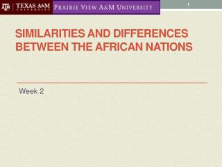 Similarities and Differences between the African Nations