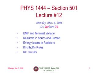 PHYS 1444 – Section 501 Lecture #12