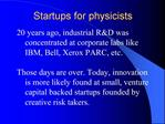 Startups for physicists