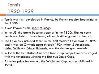 Tennis 1920-1929