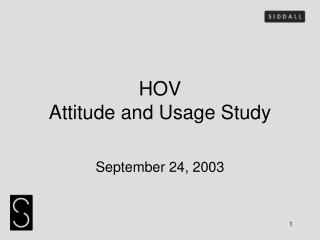 HOV  Attitude and Usage Study