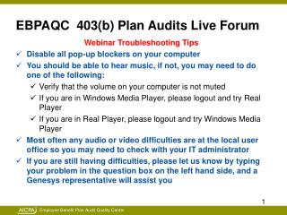 EBPAQC  403(b) Plan Audits Live Forum