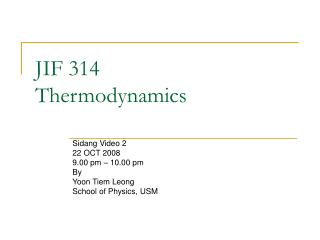 JIF 314 Thermodynamics