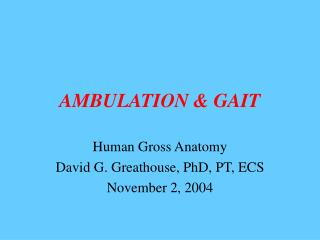 AMBULATION & GAIT