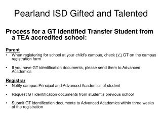 Pearland ISD Gifted and Talented