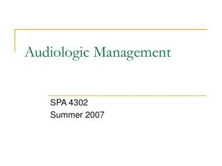 Audiologic Management