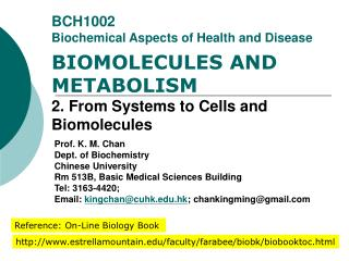 BCH1002 Biochemical Aspects of Health and Disease