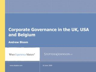 Corporate Governance in the UK, USA and Belgium