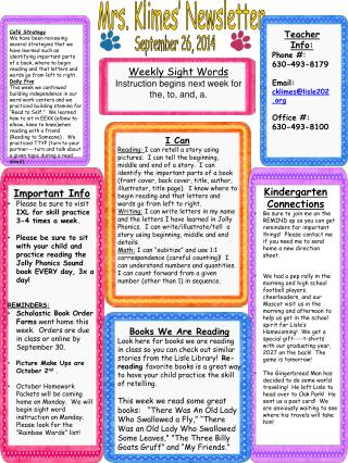 Mrs. Klimes' Newsletter
