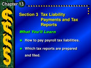 Section 3	Tax Liability Payments and Tax Reports
