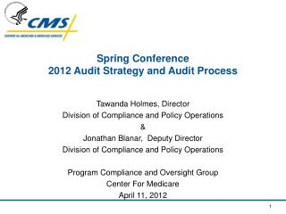 Spring Conference 2012 Audit Strategy and Audit Process