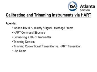 Calibrating and Trimming Instruments via HART
