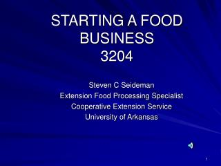 STARTING A FOOD BUSINESS 3204