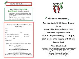 Join the Austin UNM Alumni Chapter for our  Annual Chile Roast & Brunch Picnic